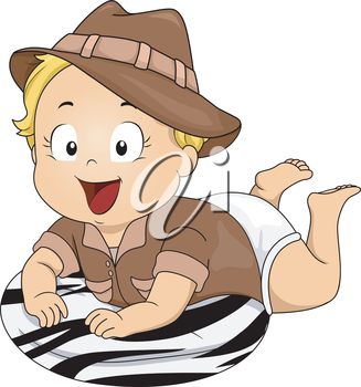 Illustration Featuring a Baby Girl Wearing a Safari Costume