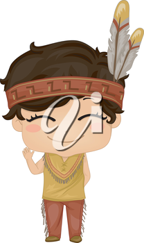 Illustration Featuring a Boy Wearing a Native American Costume