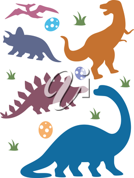 Illustration Featuring Silhouettes of Different Dinosaurs