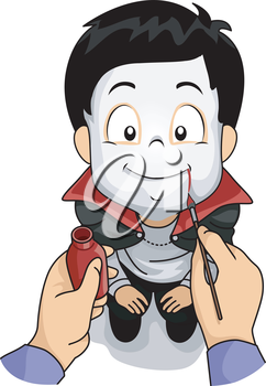 Illustration Featuring a Boy Wearing a Vampire Costume Having Make-up Applied on His Face