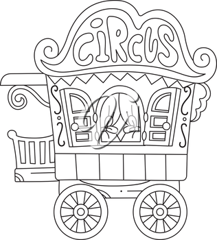 Illustration of a Ready to Print Coloring Page Featuring a Circus Caravan