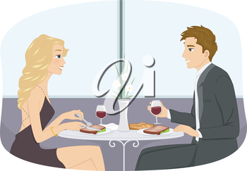 Illustration of a Couple in Formal Attire Having a Romantic Dinner Date