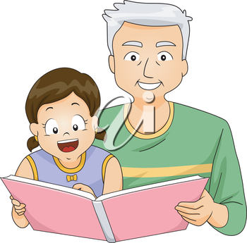Illustration of a Grandfather Reading a Book to His Granddaughter