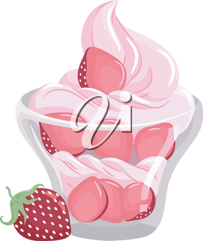 Illustration of a Bowl of Strawberry Covered in Whipped Cream