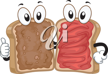 Mascot Illustration of a Peanut Butter and Jam Sandwiches Hanging Out Together