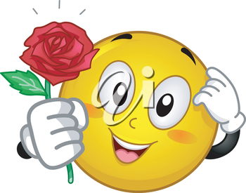 Mascot Illustration of an Embarrassed Smiley Giving a Red Rose