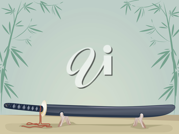 Background Illustration of a Japanese Sword Resting on a Stand