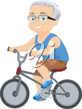 Illustration of an Elderly Man Riding His Bicycle