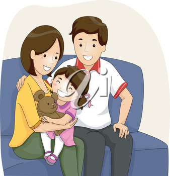 Illustration of a Couple with Daughter sitting on their Sofa
