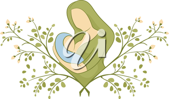 Illustration of a Mother Breastfeeding on Top of a Moringa Plant