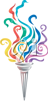 Illustration of a Torch with Colorful Swirls on Top