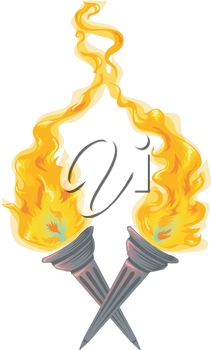 Illustration of Twin Torches with Flames Raging Wildly