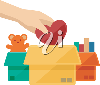 Flat Illustration of a Hand Dropping a Heart to a Donation Box