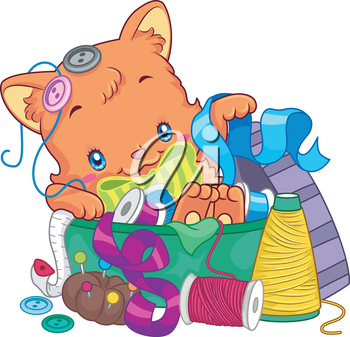 Illustration of a Cute Cat Lying on a Pile of Sewing Materials