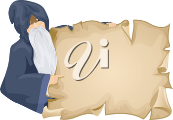 Illustration of an Old Wizard Holding a Blank Piece of Paper