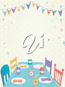 Illustration of a Kids Party Decorated with Colorful Banners