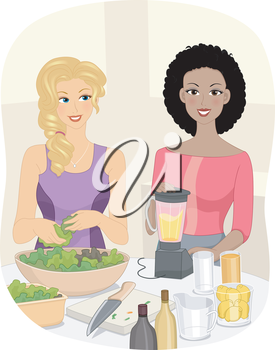 Illustration of Women Preparing Smoothies Made from Fruits and Vegetables