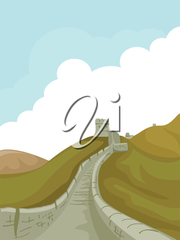 Illustration of a Pathway at the Great Wall of China Leading to a Tower