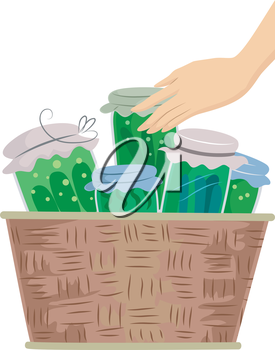 Illustration of a Hand Touching a Basket Filled with Canned Vegetables