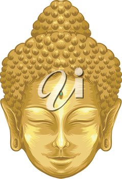 Illustration Featuring the Face of a Golden Buddha