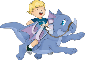 Whimsical Illustration of a Happy Kid Riding a Dragon