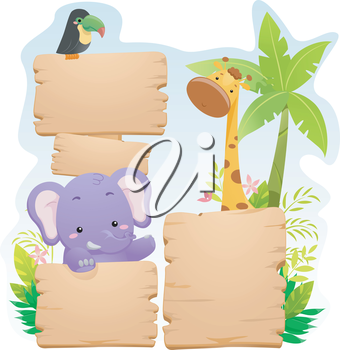 Colorful Illustration of Jungle Animals Standing Behind Blank Wooden Boards