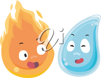 Mascot Illustration of Fire and Water facing each other
