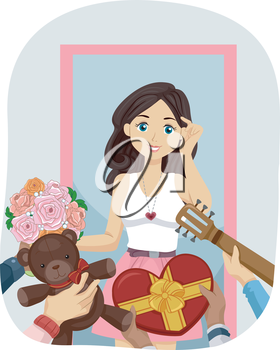 Illustration of a Gorgeous Teenage Girl Flooded with Gifts from Her Suitors