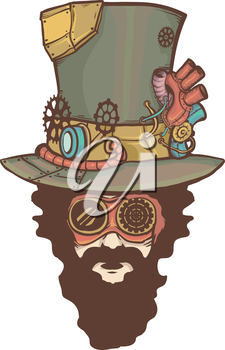 Illustration of a Man Sporting a Steampunk Look