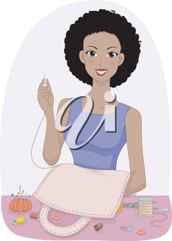 Illustration of a Girl Making a Bag from Scratch