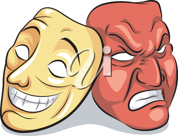 Illustration of a Pair of Masks Depicting Bipolar Disorder