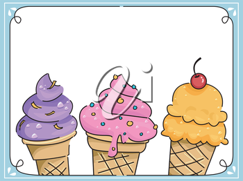 Frame Illustration Featuring Ice Cream with Different Flavors