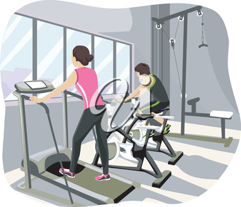 Illustration of a Teenage Couple Working Out at the Gym
