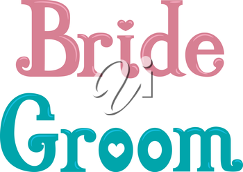 Typography Illustration Featuring the Words Bride and Groom