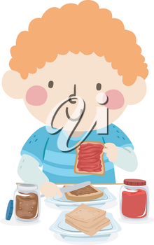Illustration of a Kid Boy Making His Own Peanut Butter and Jelly Sandwich for Lunch