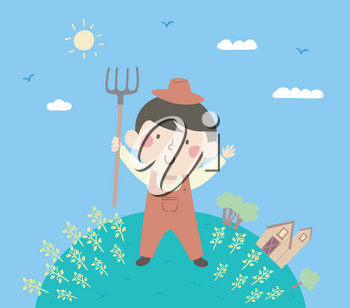 Illustration of a Kid Boy Wearing Farmer Clothes, Holding a Rake and Standing with His Crops
