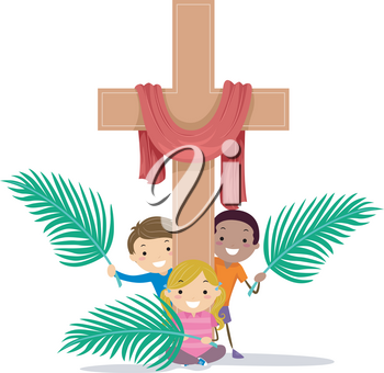Illustration of Stickman Kids Holding Palm Leaves with a Wooden Cross with Red Cloth