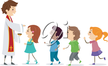 Illustration of Stickman Kids Falling in Line to Receive Ashes on Forehead from a Priest