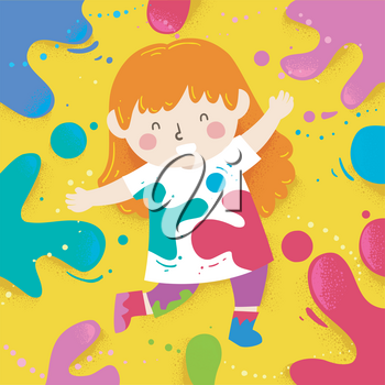 Illustration of a Kid Girl Wearing White Tshirt and Playing with Color Splats Around