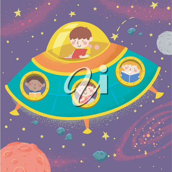 Illustration of Kids Writing and Reading a Book From Inside a Space Ship in the Outer Space
