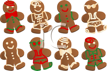 Royalty Free Clipart Image of a Set of Gingerbread Men