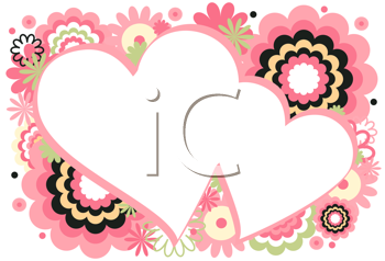 Royalty Free Clipart Image of Two Hearts With Flowers