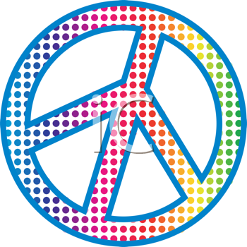 Royalty Free Clipart Image of a Boldly Dotted Peace Symbol