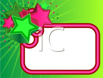 Royalty Free Clipart Image of a Green Background With Pink Frame and Stars