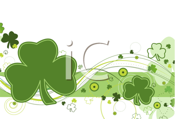 Royalty Free Clipart Image of a Shamrock Design on White