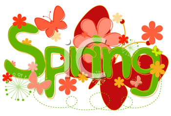 Royalty Free Clipart Image of the Word Spring With Flowers and a Butterfly