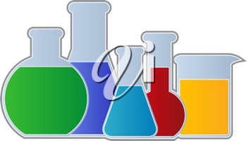 Royalty Free Clipart Image of Beakers Full of Colourful Fluid