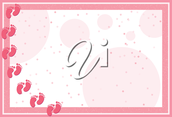 Royalty Free Clipart Image of a Background With a Baby Footprint Border