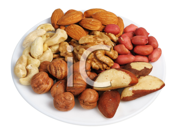Royalty Free Photo of Mixed Nuts on a White Plate on a White Background