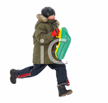 Winter games children - boy, running with sleds, isolated